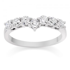 Curved Shared Prong Diamond Wedding Ring in Platinum