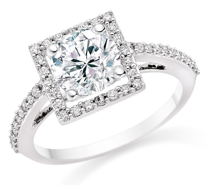 Round Cut 0.82 Carat Halo Engagement Ring with Side Stones in 18k White Gold